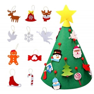 3D DIY Felt Christmas Tree with 18pcs Hanging Ornaments for Toddler and Kids Christmas Gifts