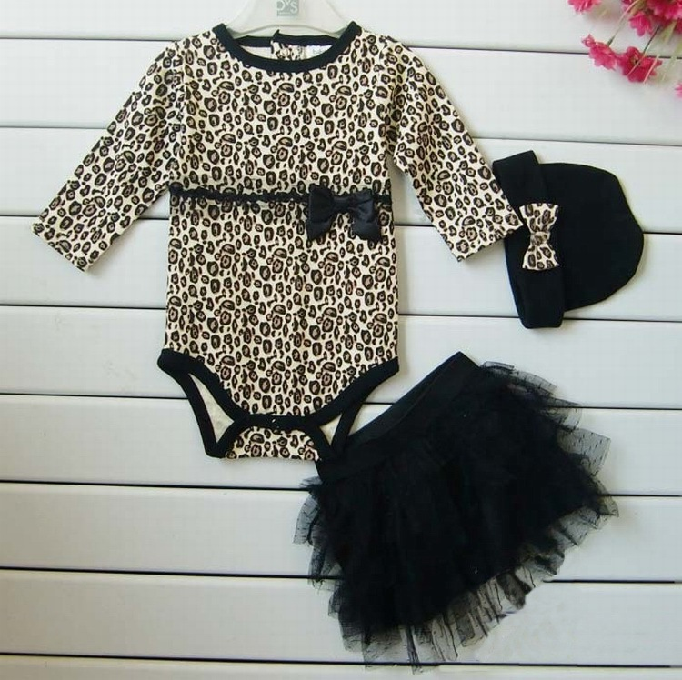 Leopard Baby Girl Clothes 3 PC Sets Long Sleeved Rompers Tutu Skirt font b Dress b