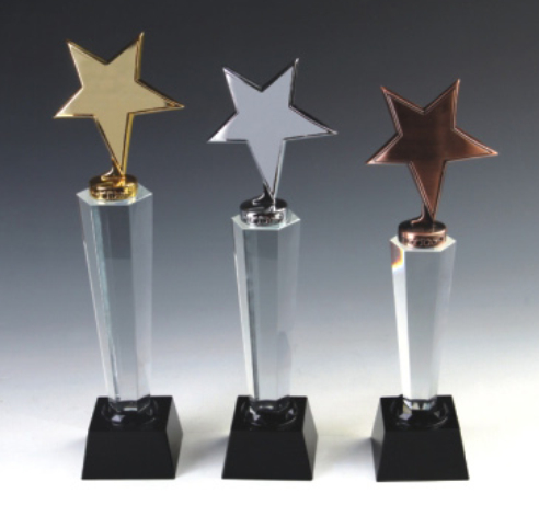 crystal and metal trophy ,star trophy