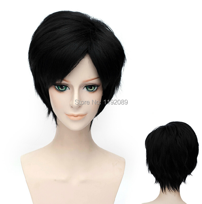 Cheap 12 inches Short Straight Black Anime Cosplay Wig Bleach Kuchiki Rukia Bob Bangs Synthetic Hair Wigs