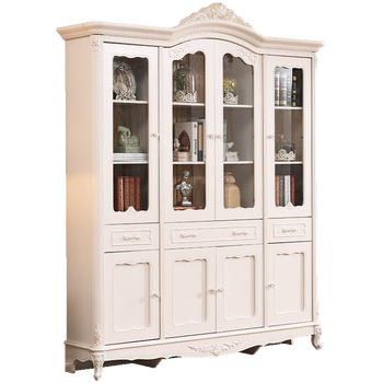 New Model Large French Baroque Style Four Door Wooden Bookcase With
