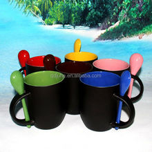Hot Sell!!! 11 oz spoon mug Cup Cartoon Color Changing Mug Magic Mug with spoon