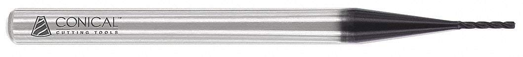 "Profile Rib Cutter, 0.050"" Tip Diameter, Number of Flutes: 4, 23/64"" Length of Cut, AlTiN"