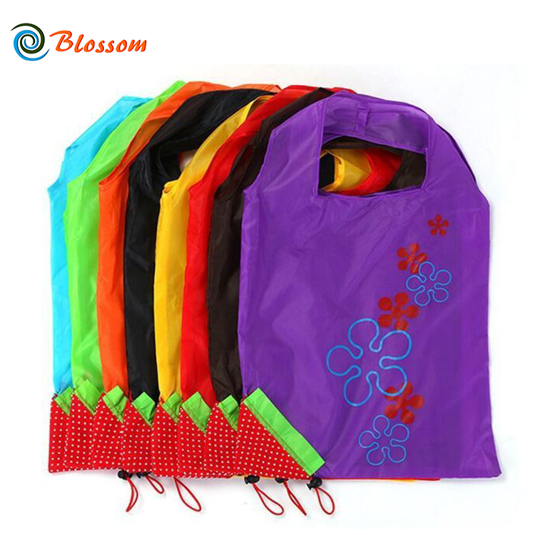 Custom Waterproof Strawberry Eco-friendly Reusable Foldable Shopping Bag