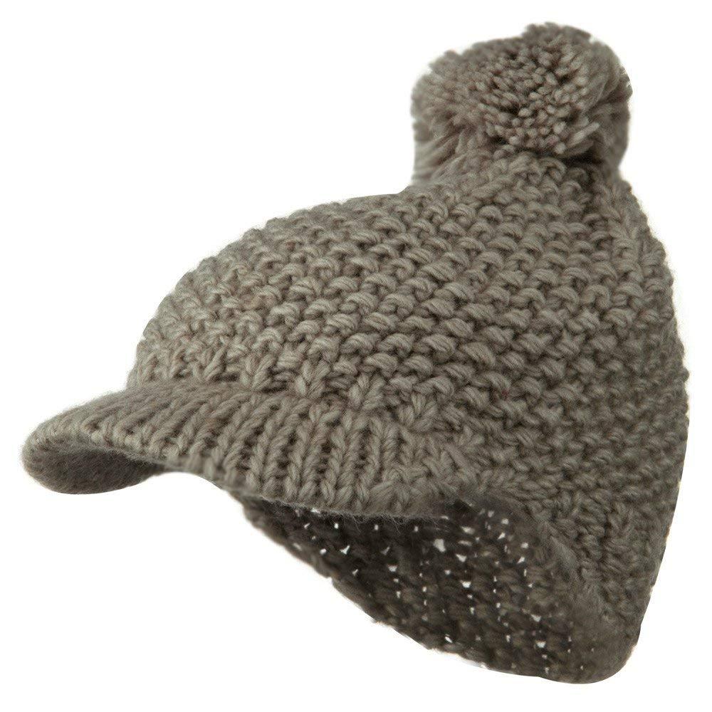 7b9d7a991e3 Get Quotations · Woman s Wool Knit Blend Visor Beanie - Grey W12S52E