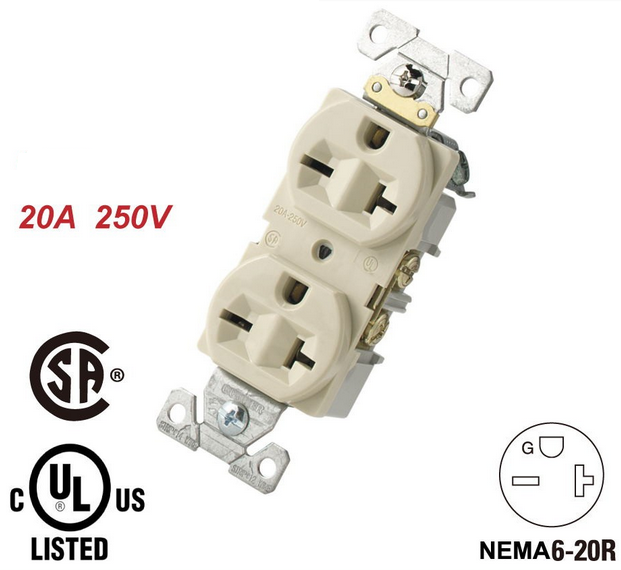 Goods have in stock 3000pcs New 250V 20A USA UL Certification Duplex Receptacle Nema 6-20R Socket