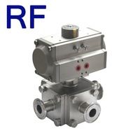 RF Hygienic Pneumatic 4 Way Square Full Bore LL Type Ball Valve Stainless Steel For Food Grade