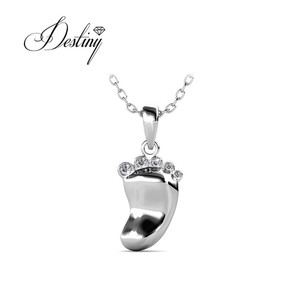 Destiny Jewellery fashion 925 sterling silver pendant charms silver foot pendant jewelry made with Crystal from Swarovski