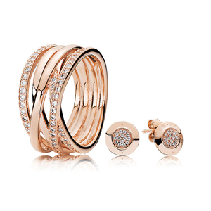 Wholesale rose gold entwined signature ring and earring gift set hight quality rose gold ring and stud earring