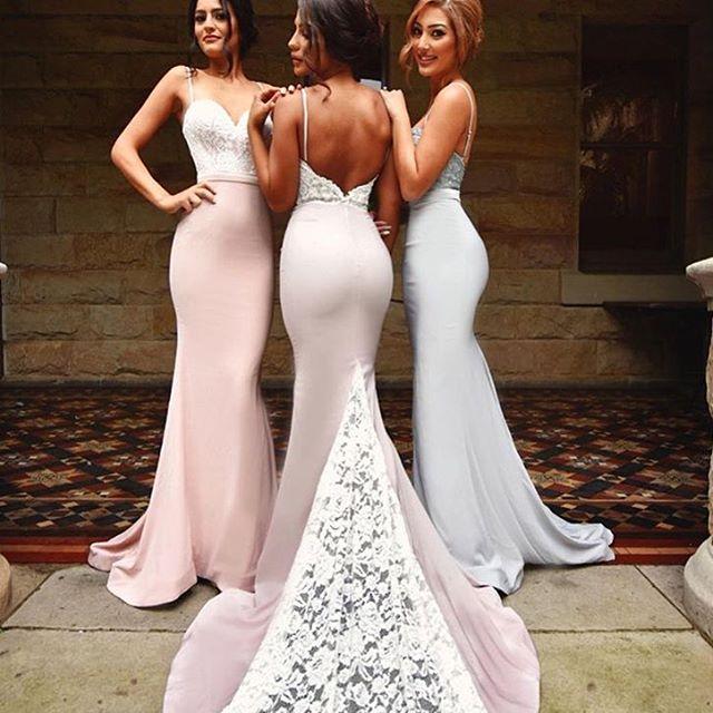 2018 Blush Pink Bridesmaid Dresses Spaghetti Strap Mermaid Lace Long Maid Of Honor Dress