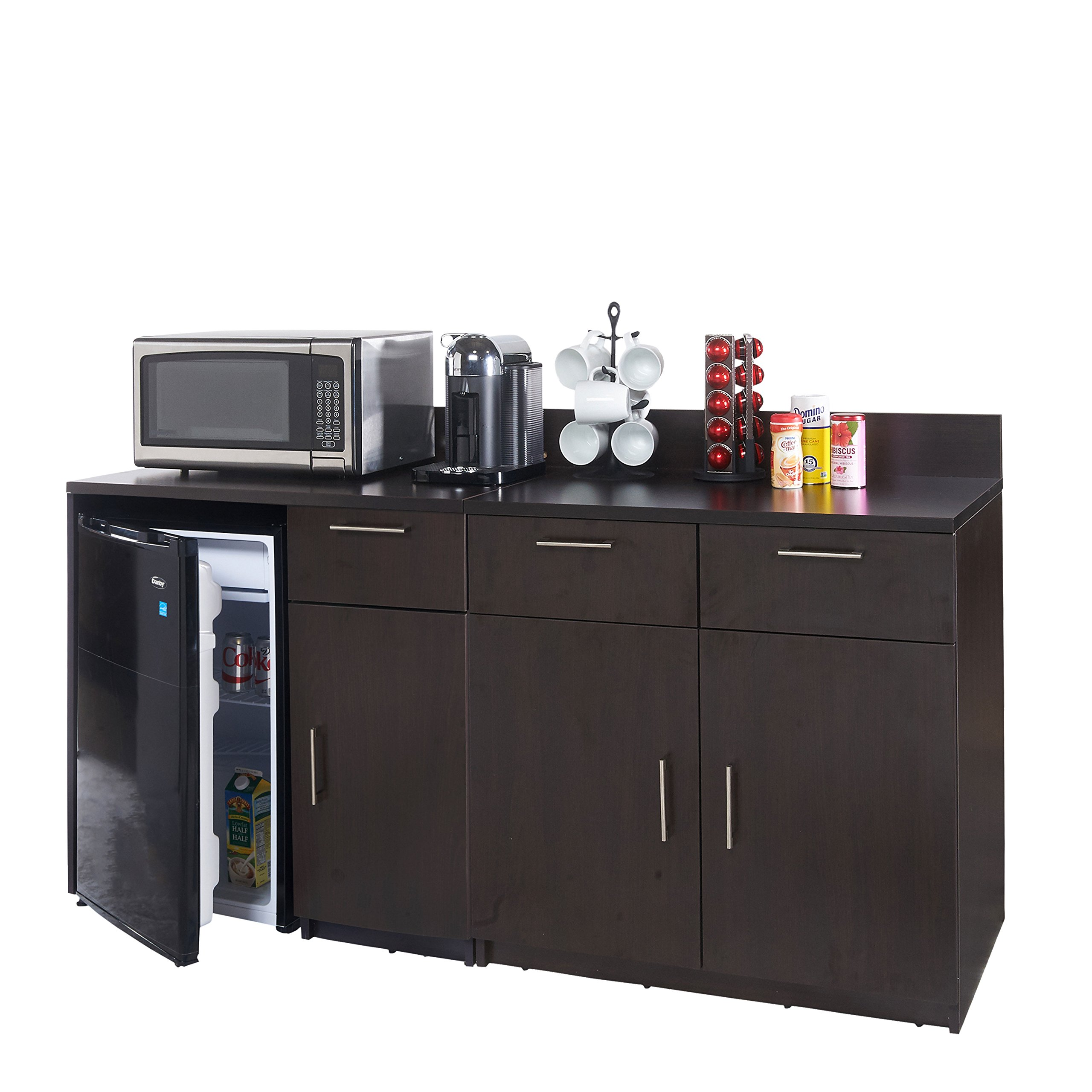Breaktime 2 Piece 3271 Coffee Kitchen Lunch Break Room Furniture Cabinets Fully Assembled Ready to Use, Instantly Create your New Break Room, Espresso