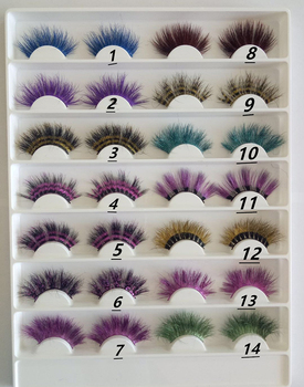 10 Colors Blue Plume False Lashes Dance Halloween Costume Dramatic Eyelashes