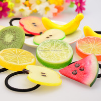 Cute Artificial Section Watermelon Lemon Fruit Elastic Hair Ties Band Ponytail Holders