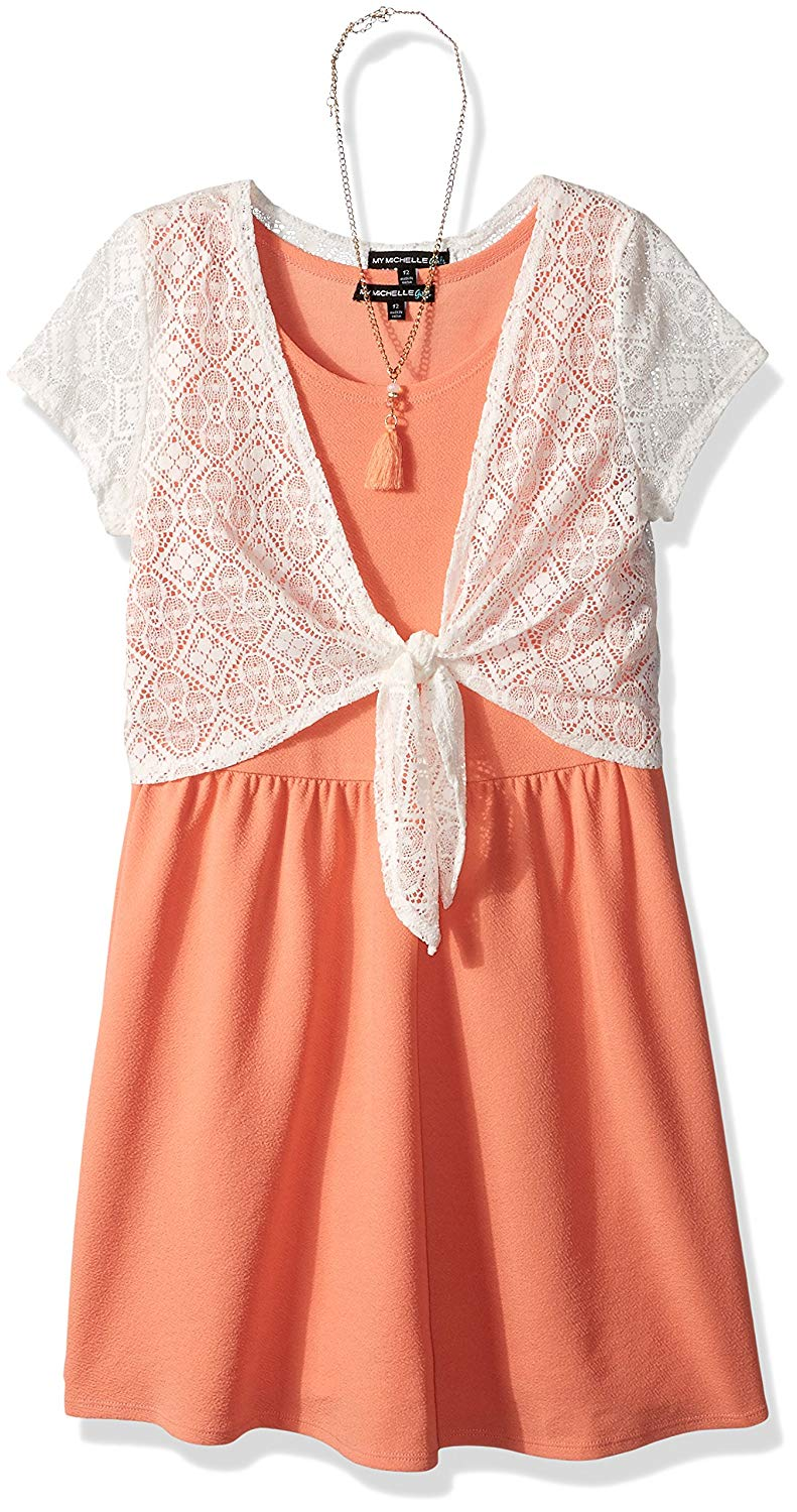 11570966b0ac Get Quotations · My Michelle Big Girls  Skater Dress With Crochet Tie Front  Sweater