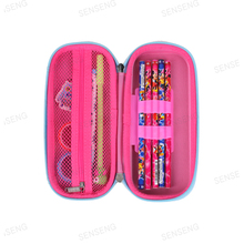 New design School owl PU leather pink zipper pencil bag box for kids