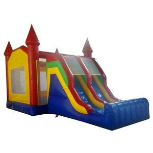 Guangzhou factory made cheap price 0.5mm PVC mini kids inflatable bouncy castle with slides inflatable bouncer slide for sale