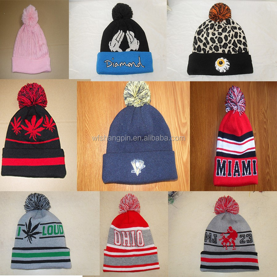 Girls Pompom Sports Beanie Folded Up Hats with a Top Ball embroidery Winter  Warm Cap 7c29074cdcc
