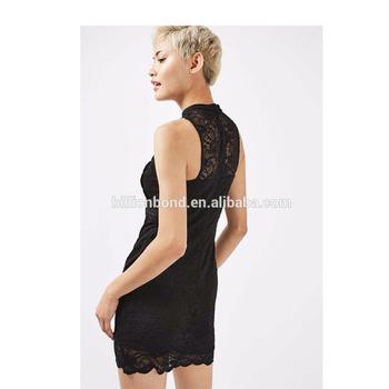 hacia encaje a de sexy ver fuera de hueco mujer negro Nuevo de través vestido qCxRwR76