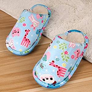 Cute cartoon Wooden floor child slippers Autumn and winter thick home warm cotton slippers /plush kid slippers /Anti-skid Home House Slippers Fashion Travel kid gift Slippers Child Kid Adult Footwear