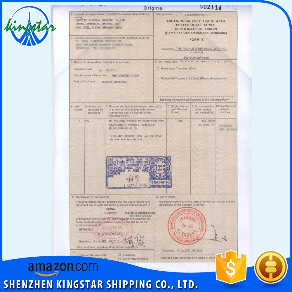 Form Ecertification Of Form Echina Asean Form E
