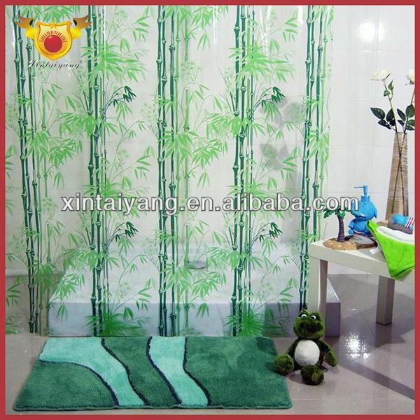 Floret Decorative Printed Bathroom PVC Plastic Transparent Shower Curtainpeva Curtain