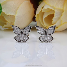 Womens fashion butterfly ear studs 925 sterling silver jewelry earrings