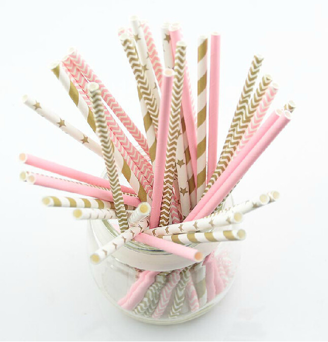 Cheap gold wedding supplies find gold wedding supplies deals on get quotations 125pcs5bagspink gold striped mixed kids birthday wedding decorative party decoration event supplies junglespirit Image collections