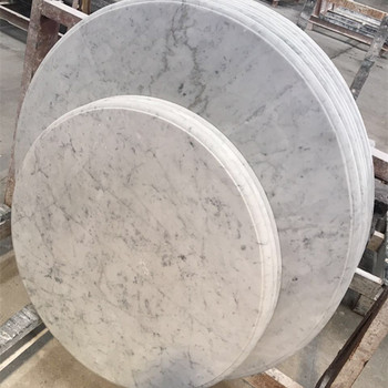 Elegant Staturio White Marble Solid Surface Round Marble Slab Table Top