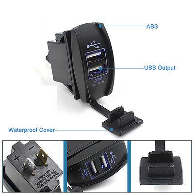 Dual USB 3.1A 12-24V Blue Light Car Phone Charger Socket ARB Carling Switch Jack
