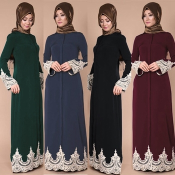 Fashion Muslim Women Clothing Lace Abaya With Belt And Button
