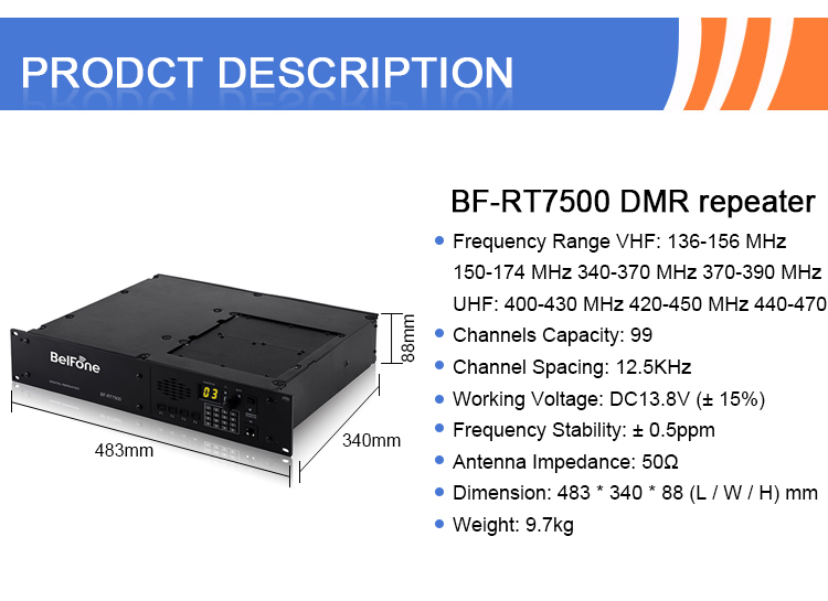 BF-RT7500 Reliable and cheap indoor DMR digital radio repeater for mobile phone