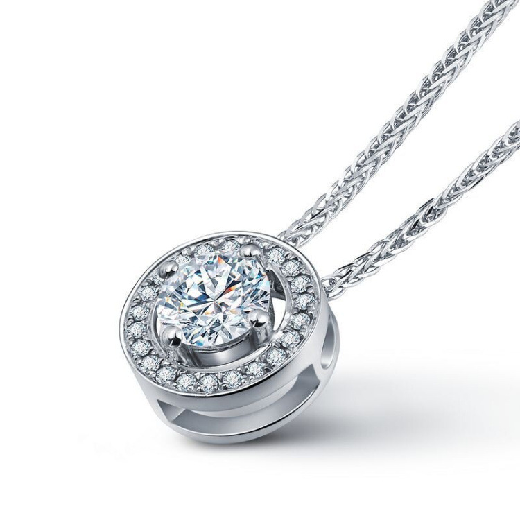 Designer inspired round shape  pendant necklace 925 sterling silver necklace for women
