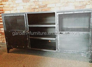 Vintage Metal Home Furniture For Living Room, Industrial Wrought Iron Tv  Stand Cabinet With Shelves