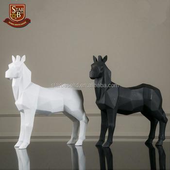 Resin Abstract Animal Zebra Sculpture Figurine Handicraft Home Desk