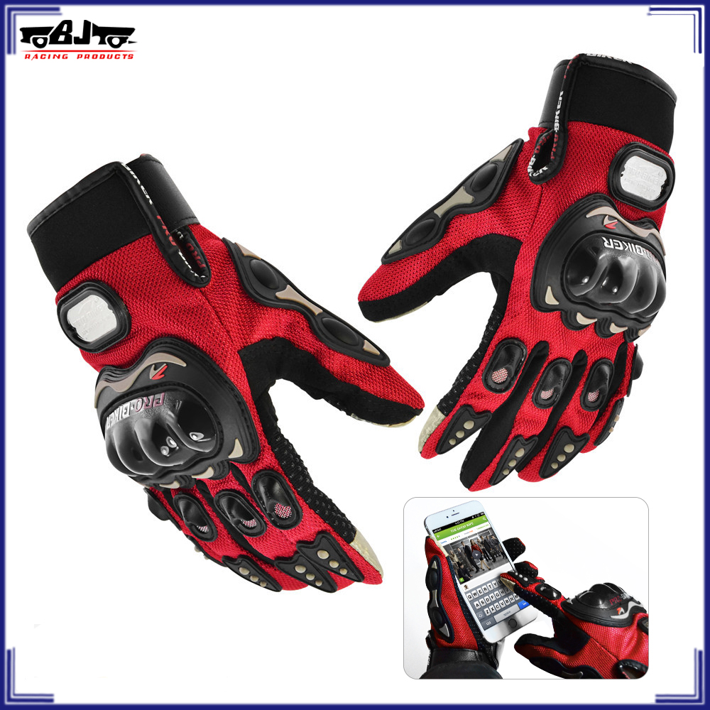 BJ-GLO-MCS01C motocicleta Full Finger Touch screen luvas luvas de bicicleta do motor