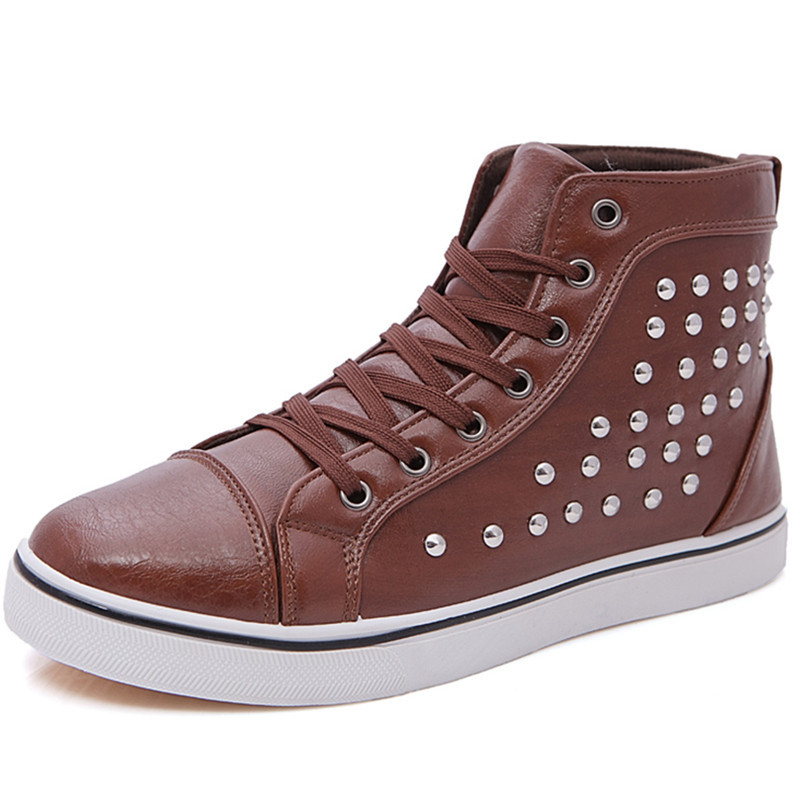 Black PU Leather High Top Man Fashion Sneakers For Mans Luxury Brand Autumn Winter Shoes Rivet Ankle Boots Men 2015 Brown