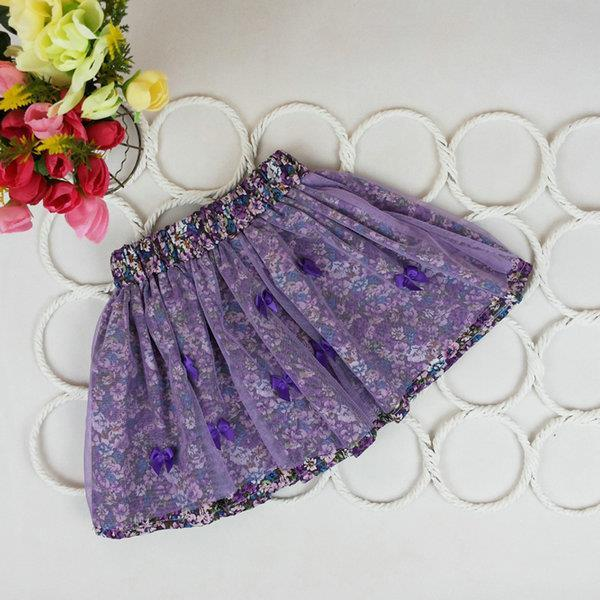 2 7Y Cute Baby Kids Girl Bow Floral Pompon Layered Skirt Floral Tulle Tutu Skirt