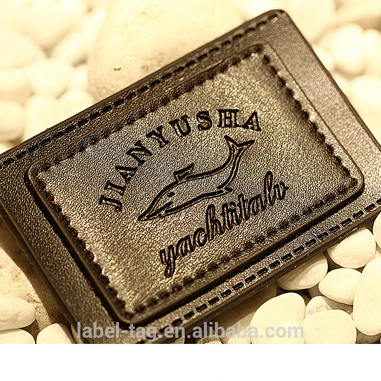 Professional manufacturer jeans leather hardware  letter patch accessories