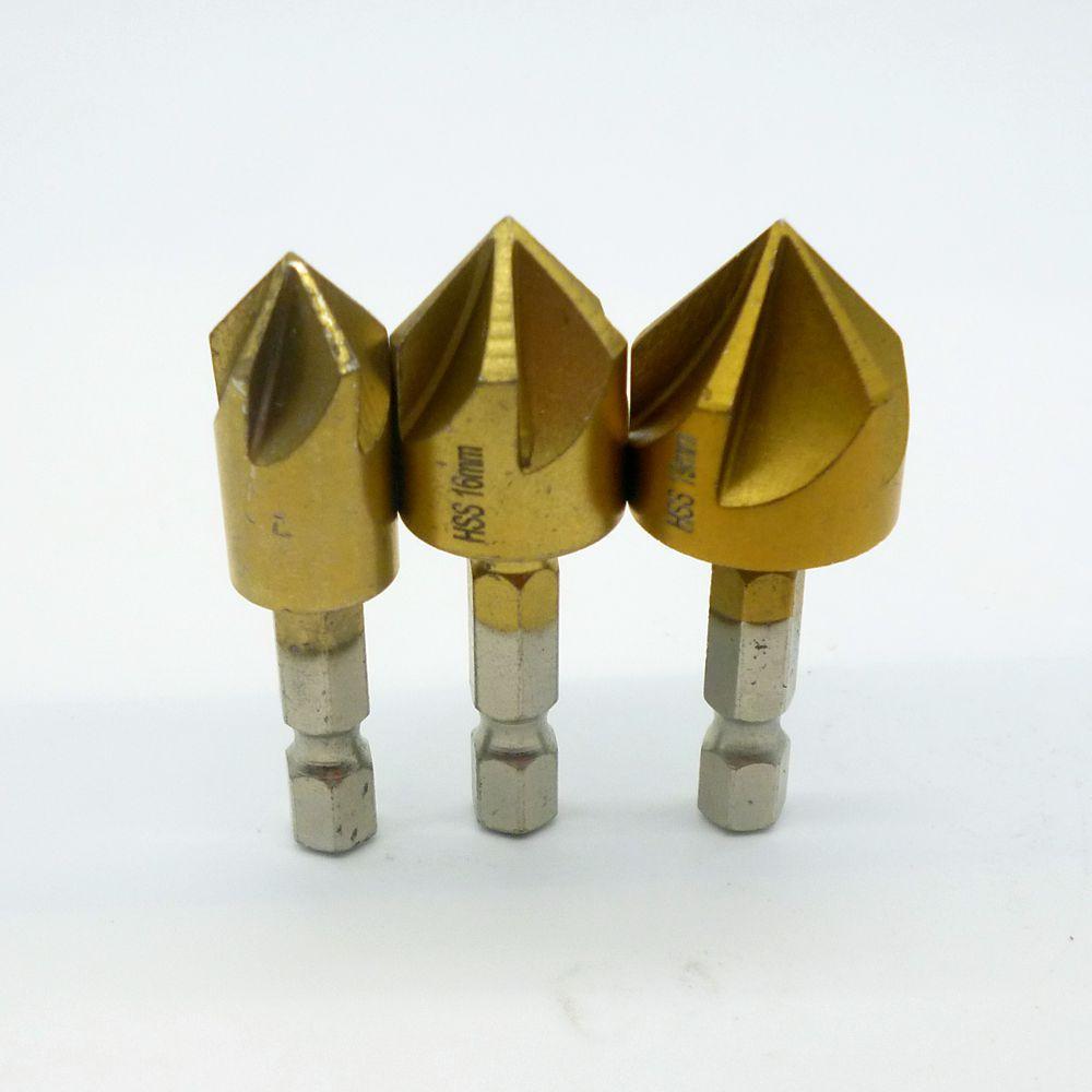 Get quotations hot 3pcs hss chamfer drill bit 5 flute countersink woodworking chamfer 90 degree hex shank drill