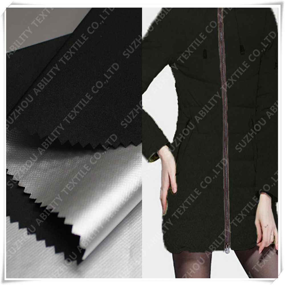 228T Dull Polyester Taslan Fabric With Waterproof PU Silver Coating