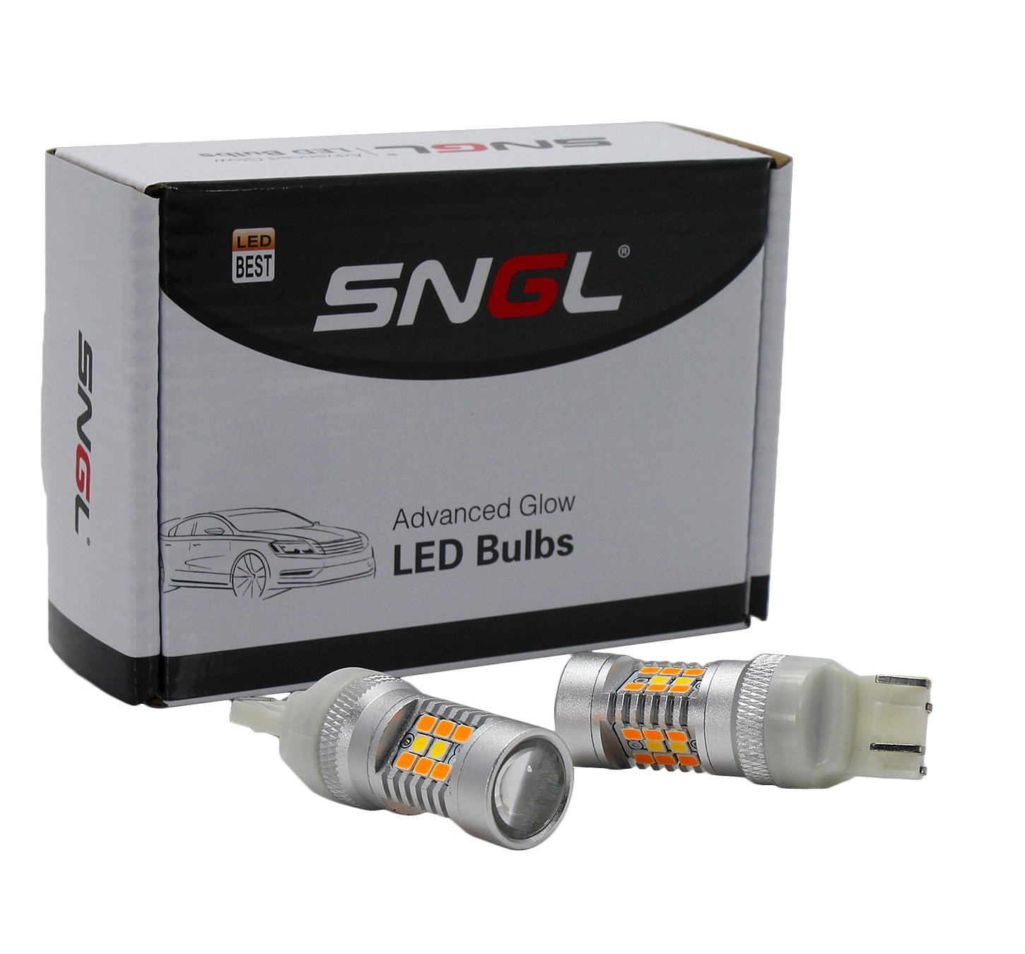 SNGL Super Bright 7443 T20 W21/5W Switchback LED Bulbs For Auto RV SUV MPV Truck Car Turn Signal Lights & ( DRL / Parking Lights ) - Amber(Yellow) / Xenon White (Pack of 2pcs)