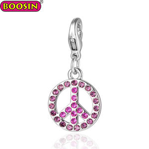 Boosin best selling pink color round shape crystal metal charms 2018