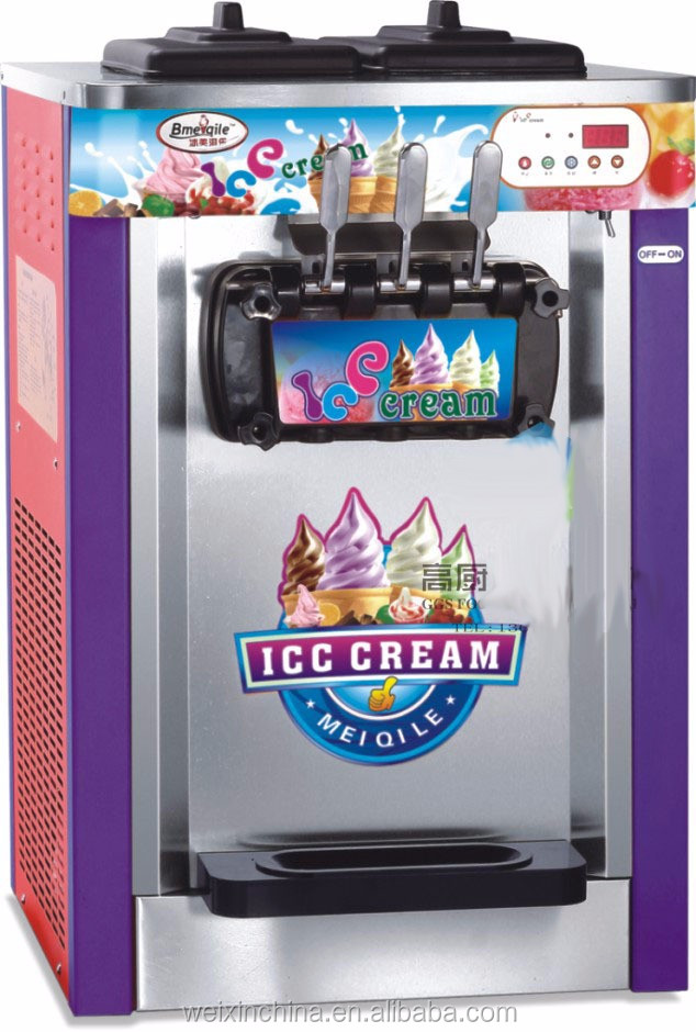 Stainless Steel 3 And 1 Flavors Commercial Soft Ice Cream