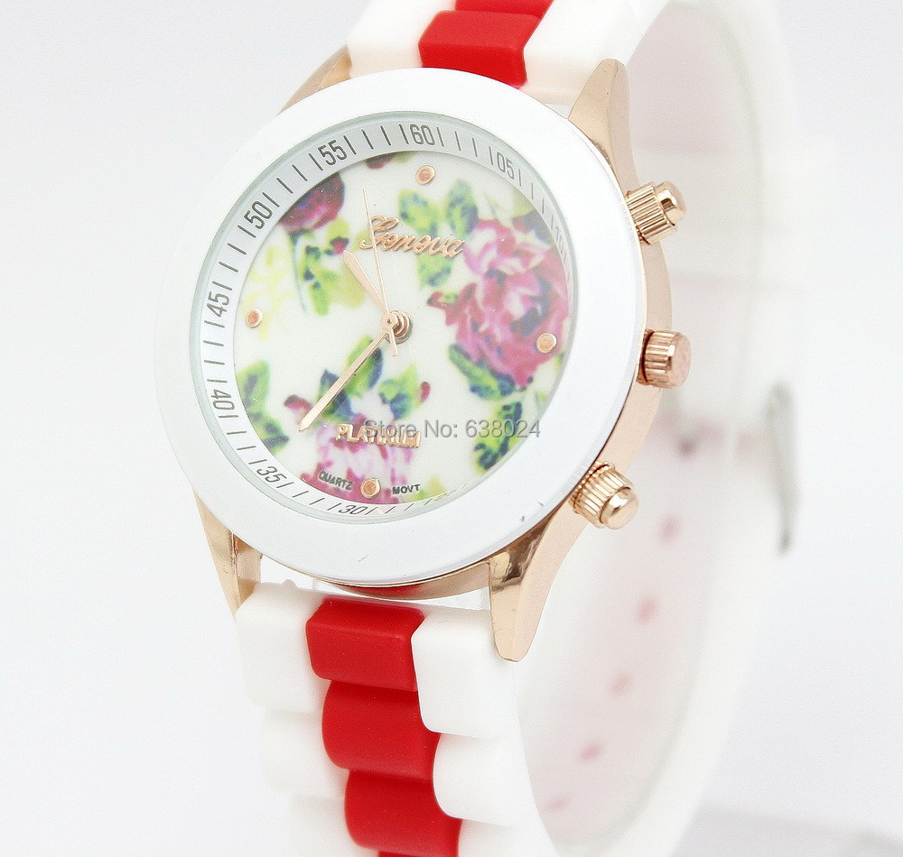 500pc/lot 15Color Geneva RoseFlower Multi Silicone Watch For Women Dress Watches Fashion Women Ruber Wrist Watches Free Shipping