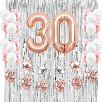 40inch Rose Gold Number 30Silvery Foil Rain Curtain Latex And Confetti Balloons For