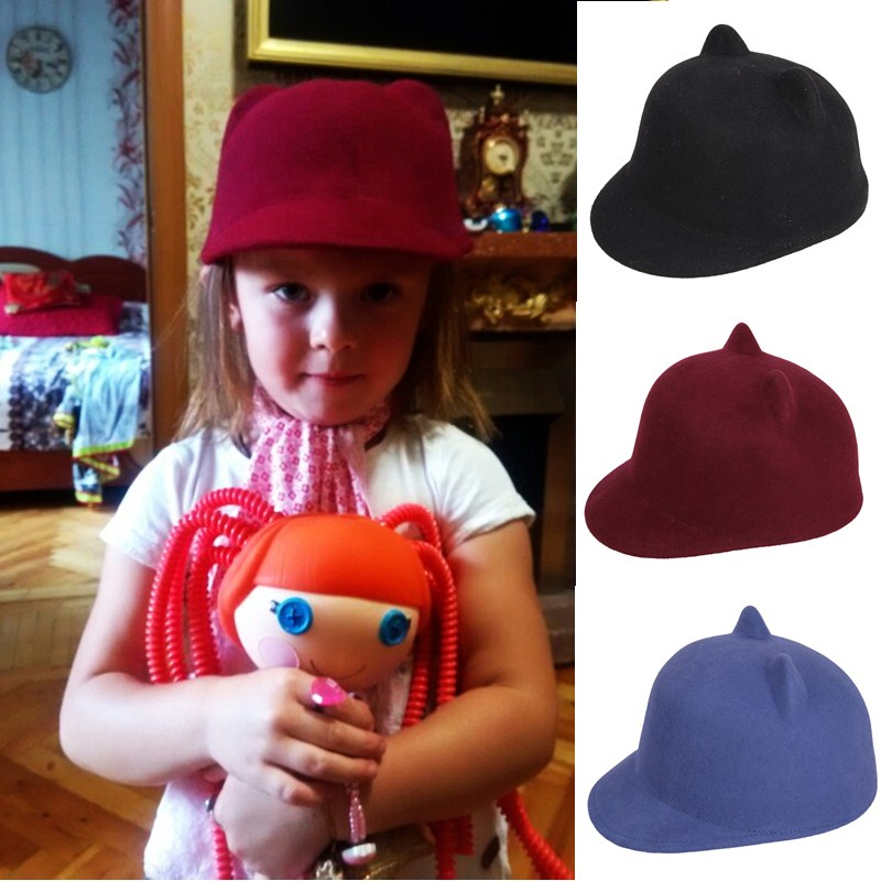 100 Wool Girl Boy Child Fedoras hat With Devil Horns Mickey Cat ear Cap size 52