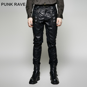 K-266 Punk Men Winter Black Sexy Tight Leather Pants