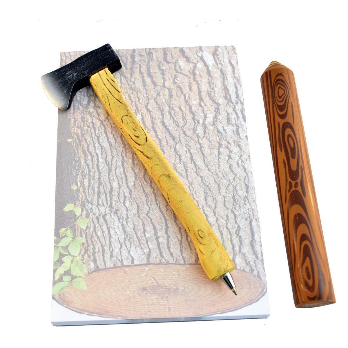 Office Gifts For Men: Axe Pen, Wood Grain Notepad And Log Eraser (Bundle