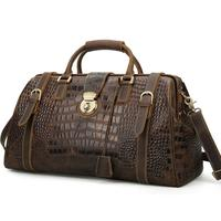 Tiding Italian Genuine Leather Crocodile Weekender Duffel Bags Mens Travel Bag Luggage Bag