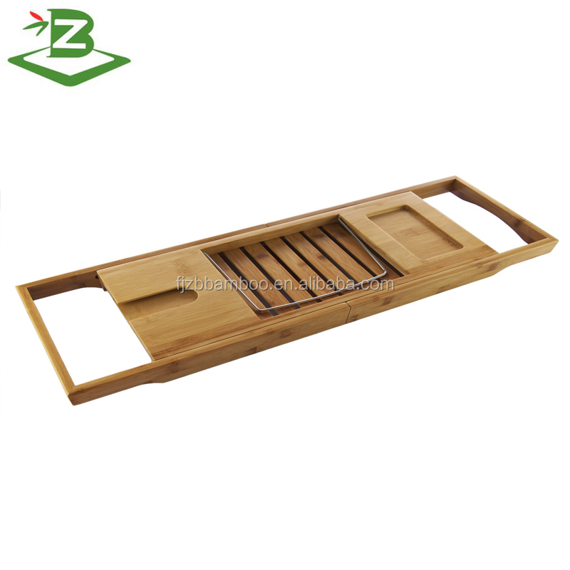 Bamboo adjustable bathtub shower caddy with tablet/ book holder